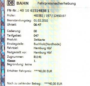 Fahrpreisnacherhebung Db