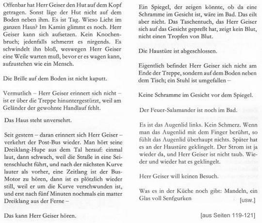 Auszug aus 1. Auflage 1979: Max Frisch - Der Mensch erscheint im Holozän