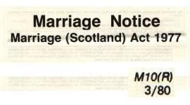 Marriage Notice - Marriage (Scotland) Act 1977 mit Umschlag/Gebührenübersicht und Anschreiben