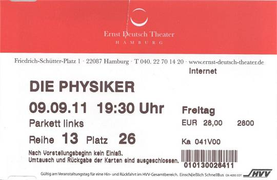 Eintrittskarte Ernst Deutsch Theater