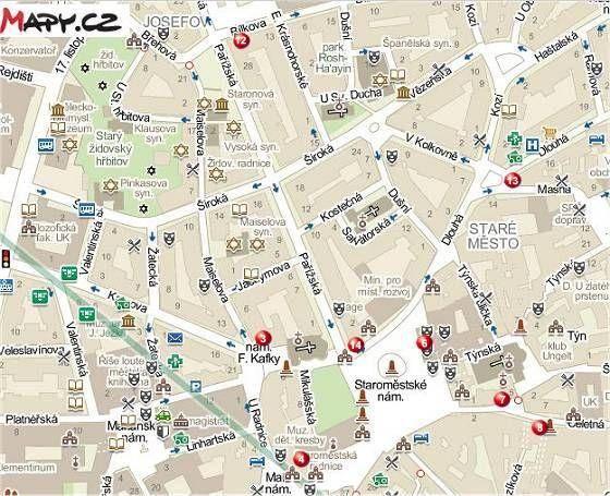Prag (heute) mit Kafkas Adressen in der Altstadt