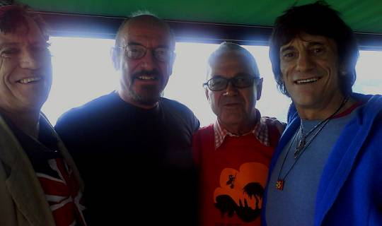 Ian Anderson mit Claude Nobs & Keith Richard und Ron Wood von den Stones