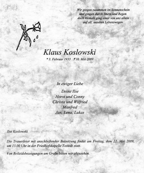 Klaus Koslowski - 03.02.1933 - 10.05.2009