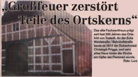 Großfeuer 1811 in Tostedt