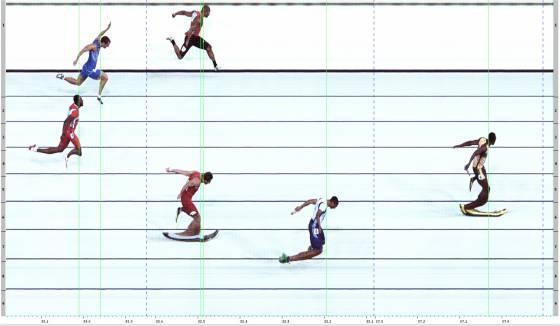 Fotofinish 4x100 m Endlauf der Herren – Weltrekord Jamaika in 37,04 s