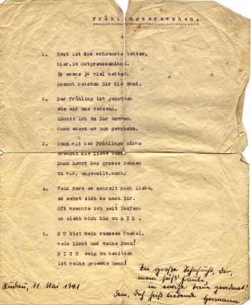 Gedicht: Frühlingserwachen – 11. Mai 1941 – von Hermann Albin