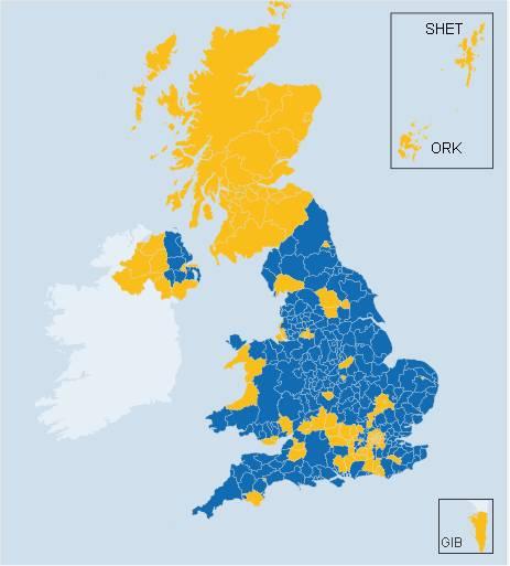 EU-Referendum Brexit – 'lokale' Ergebnisse