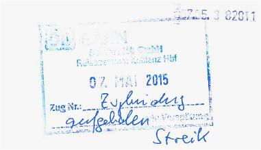 DB-Fahrkarte mit Vermerk: Zugbindung aufgehoben - Streik