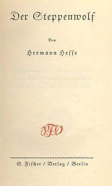 Hermann Hesse: der Steppenwolf - S. Fischer Verlag,  Erstausgabe Deckblatt 1927
