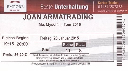 Eintrittskarte Empore Buchholz: Joan Armatrading – Me, Myself, I–Tour 2015