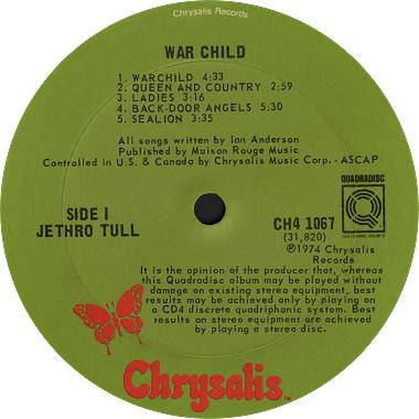 Jethro Tull: War Child (1974) Quadradisc