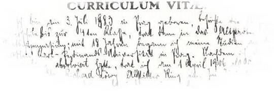 Kafkas Curriculum vitae in Kurrentschrift