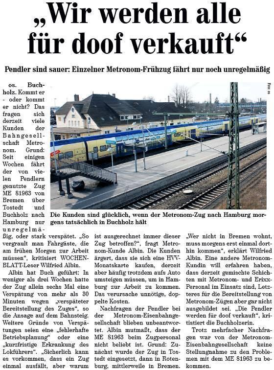 Kreiszeitung-Wochenblatt vom 21.03.2015: Pendler werden für doof verkauft