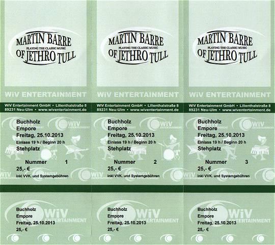 Eintrittskarten Empore/Buchholz: Martin Barre und Band 2013