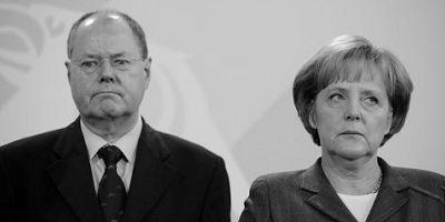Merkel versus Steinbrück (Quelle: Archivfoto von 2008 – Spiegel Online)