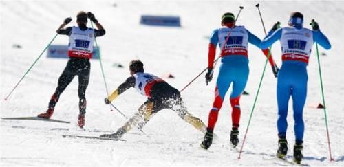 Nordische Ski-WM 2013: Sturz Axel Teichmann (4x10-km-Staffel)