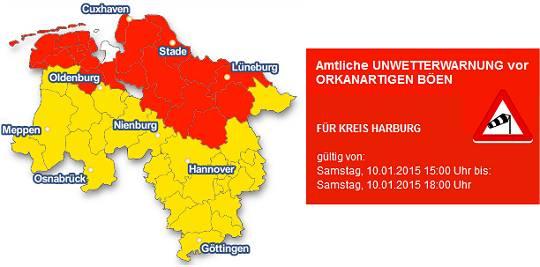 Unwetterwarnung für den Landkreis Harburg/Niedersachsen – Orkantiefs Elon und Felix Januar 2015