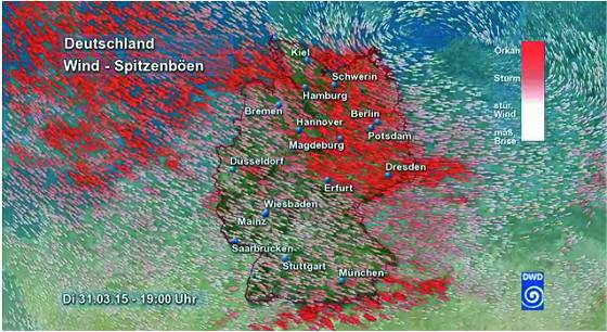 Orkantief Niklas über Deutschland (31.03.2015) - Quelle: DWD Deutscher Wetterdienst