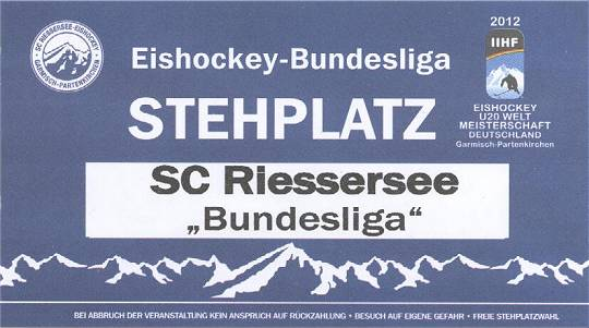 Eintrittskarte – 2. Eishockey-Bundesliga: Sc Riessersee