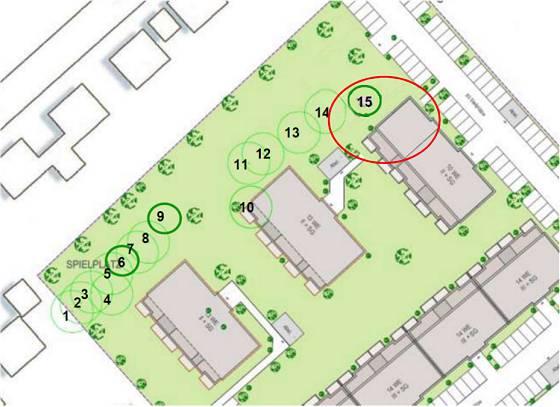 Abb. 2: Planausschnitt mit Darstellung der begutachteten Bäume © PGN/Grewe Baumpflege - in rot von mir modifizierte Planung (halbes Haus 5 rückt an Haus 4)