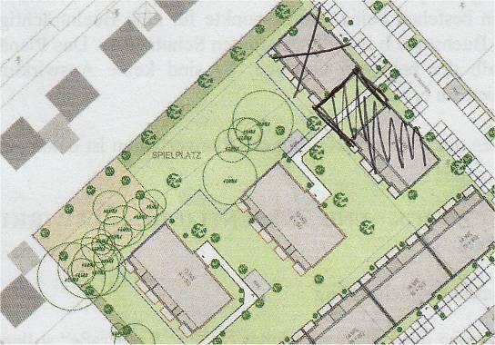 Abb. 3: Von Herrn Behrens eigenhängig eingezeichnete Änderung der bisherigen Planvorstellung © PGN