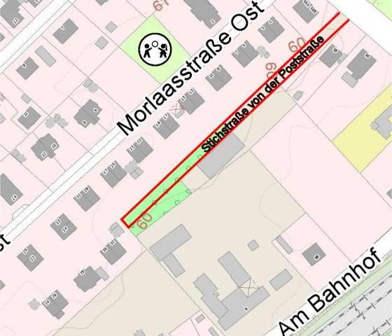 Stichstraße (Zuwegung) von der Poststraße zu dem Grundstück 'Am Bahnhof 9/9a' in Tostedt