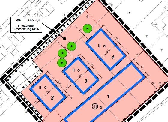 Abb. 2: aus dem Entwurf zur 2. Änderung des Bebauungsplanes Nr. 22 'Karlstraße'