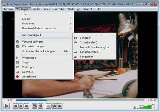 VLC-Player: Einstellung der Geschwindigkeit