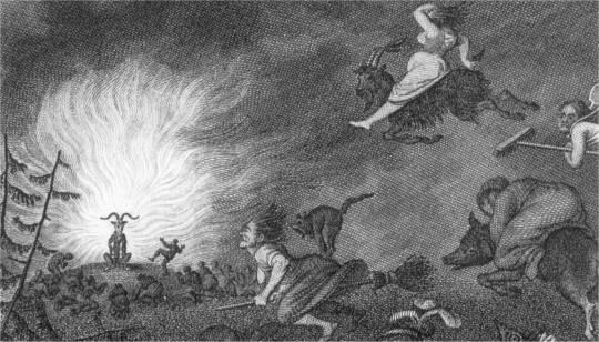 Walpurgisnacht - Kupferstich von W. Jury nach Johann Heinrich Ramberg- Walpurgisnachtszene aus Faust 1 (Ausschnitt)