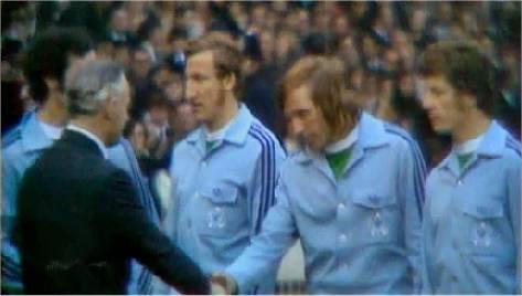 Wembley-Elf mit Beckenbauer (verdeckt),  Schwarzenbeck, Netzer und Wimmer