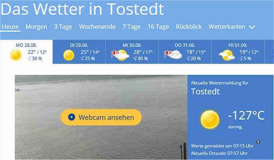 Aktuelle Wettermeldung für Tostedt: -127 ° C