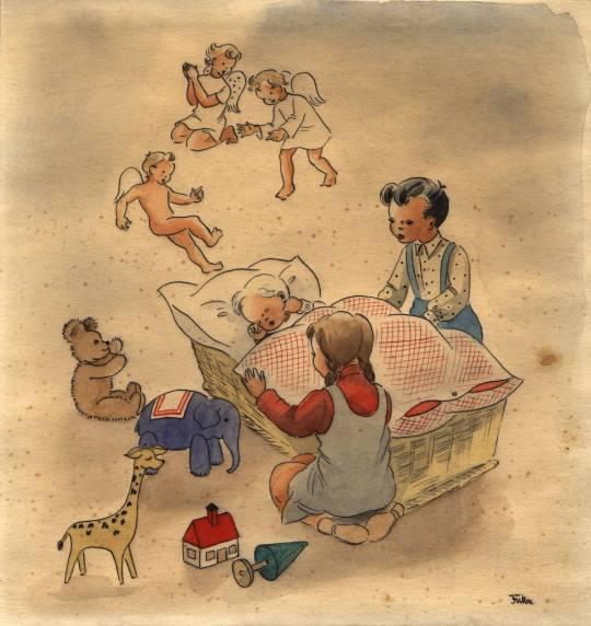 Tuschzeichnung von Jutta (1954): Inge & Armin um Willi im Bettchen