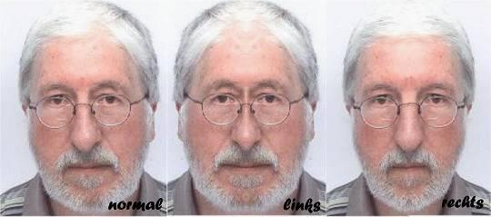 'Verbrecherfoto' von Willi: normal – links gespiegelt – rechts gespiegelt