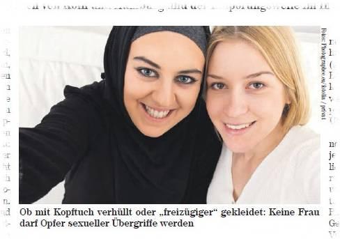 Ob mit Kopftuch verhüllt oder 'freizügiger' gekleidet: Keine Frau darf Opfer sexueller Übergriffe werden