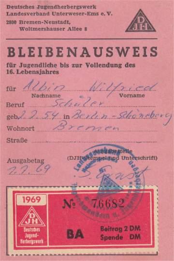 DJH: Bleibenausweis für Willi aus dem Jahr 1969