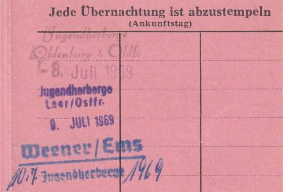 DJH: Übernachtungen 1969 (Radtour Richtung Niederlande)