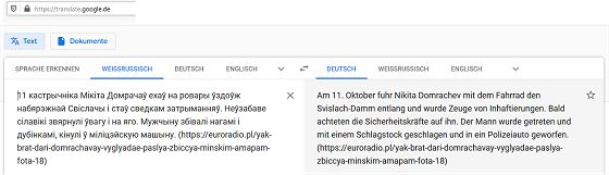 Übersetzung belarusischer Texte ins Deutsche