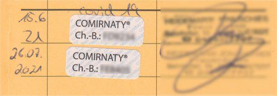 Eintragung der zwei Impfungen gegen Covid19 im meinem Impfpass