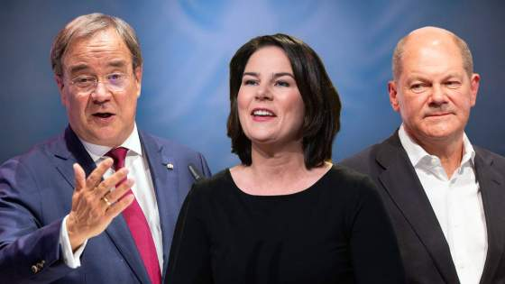 Armin Laschet (CDU) – Annalena Baerbock (Bündnis 90/Die Grünen) – Olaf Scholz (SPD)