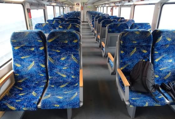 Zugfahrt in Zeiten des Coronavirus: leerer Zugwaggon