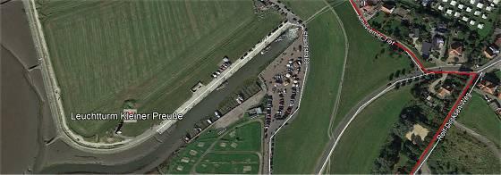 Wremen von oben (mit Weser-Radweg in rot) © Google Earth