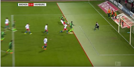 Werder – HSV 1:0 – kein Abseits, da gleiche Höhe