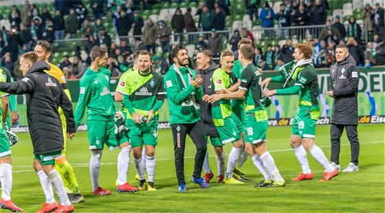 Werder Bremen nach dem 4:0 Sieg am 21. Spieltag 2018/2019 gegen den FC Augsburg