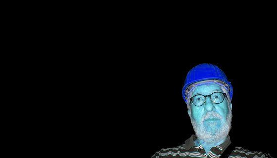Willi mit Helm in blau (Edelsteinminen Idar-Oberstein Juli 2019)