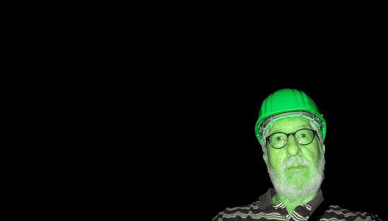 Willi mit Helm in grün (Edelsteinminen Idar-Oberstein Juli 2019)