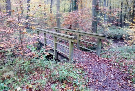 Eine von mehreren Holzbrücken über den Tostedter Graben in Düvelshöpen