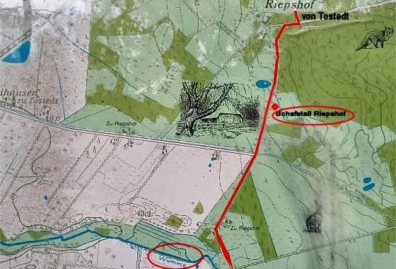 Plan von Riepshof mit Schafstall und Wümme